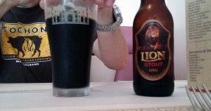 Lion Stout from Sri Lanka.  The WideEyedSpouse said it was heavy on the mocha flavors.
